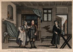 view A man of occult learning arrives at the house of a cobbler and his wife: the cobbler insults him, the wife defends him. Coloured engraving by L. Truchy after F. Hayman.