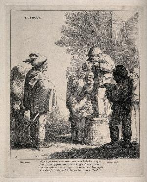 view An itinerant medicine vendor reciting from a piece of paper trying and sell his wares to a small audience. Facsimile reproduction of an etching by J. Both after A. Both.