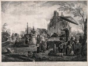 view An itinerant medicine vendor performing on stage at a bustling fair. Engraving by J. Moyreau, 1743, after P. Wouwerman.