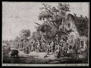 view A bustling country fair full of stalls of people selling their wares. Etching by D. Deuchar, 1788, after A. Ostade.