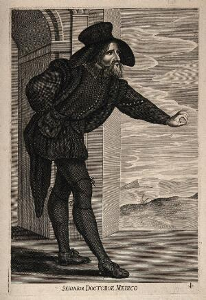 view A man dressed in costume as a theatrical caricature of a doctor. Line engraving.