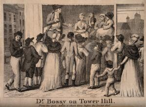 view Doctor Bossy, an infamous medicine vendor performing on stage to a crowd at Tower Hill in an attempt to sell his wares. Etching.