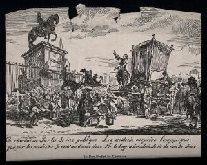 view An itinerant medicine vendor selling his wares from a carriage to a crowd of people on the Pont-Neuf, Paris. Wood engraving by G. de Saint-Aubin.