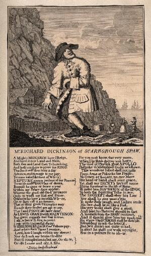 view Richard Dickinson, an eccentric man who imagines he is a king, from Scarborough. Engraving.