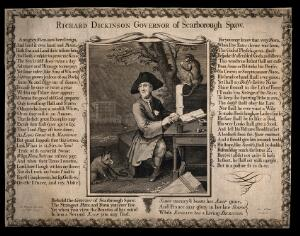 view Richard Dickinson, an eccentric man from Scarborough, who imagines he is a king, sitting with his pet fox and monkey. Engraving by G. Vertue after H. Hysing, 1725.