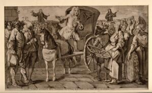view Doctor Rock, an itinerant vendor of medicines, selling his wares from a horse-drawn carriage to a crowd at Kennington common: John and Charles Wesley are preaching in the background. Engraving, 1743.