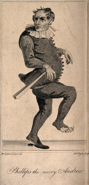 view Phillips, a clown, known as 'the Merry Andrew'. Line engraving by W.J. Taylor after M. Laroon.