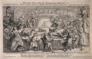 view A large table in a lecture hall with many medical practitioners of dubious fame seated around it: in the background are many tiers of spectators. Engraving, 1748.