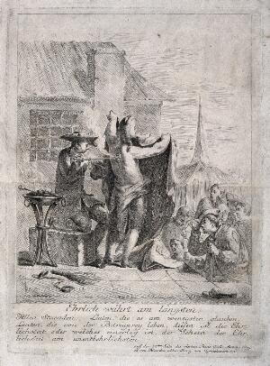 view A itinerant medicine vendor demonstrating a deceptive illusion to an audience, he is pretending to burn a man's back and then use ointment to clear up the burns, in order to sell his wares. Etching.
