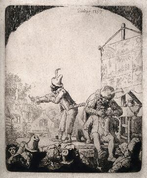view An itinerant medicine vendor selling his wares on stage to an audience while his assistant draws a tooth from a man. Etching by Diebiey, 1767.