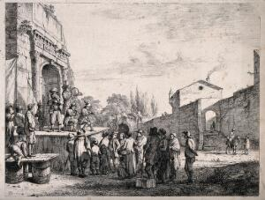 view An itinerant medicine vendor selling his wares on stage with the aid of three musicians to an audience in the ruins of a temple. Etching by J.J. de Boissieu, 1773.