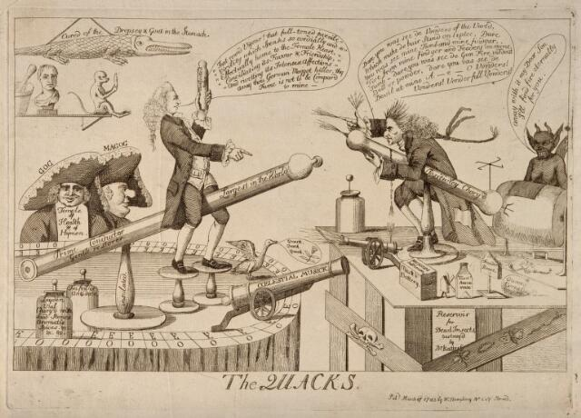 Two unorthodox medical practitioners, J. Graham and G. Katerfelto battling against each other, each surrounded by objects symbolising his practice. Etching, 1783.