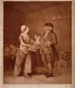 view A greedy medical practitioner demanding a section of bread or cake (?) for payment from a poor family. Colour stipple engraving by J. Baldrey, 1784, after E. Penny.