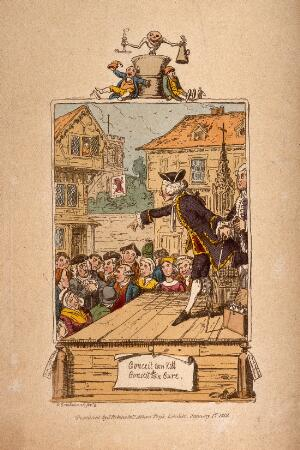 view An elaborately dressed medicine vendor selling his wares from a stage to an audience, he points to a member of the crowd whose appearence suggests he is a doctor. Coloured etching by G. Cruikshank, 1819.