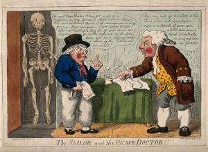 view A sailor with a bandaged eye consulting a mercenary medical practitioner. Coloured etching by I. Cruikshank, 1807?, after G.M. Woodward.