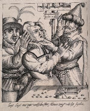 view An itinerant surgeon extracting stones from a woman's head; symbolising the removal of her 'folly' (insanity). Line engraving after N. Weydtmans after himself.