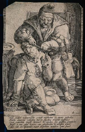 view An itinerant surgeon extracting stones from a man's head; symbolising the expulsion of 'folly' (insanity) Line engraving after L. van Leyden.
