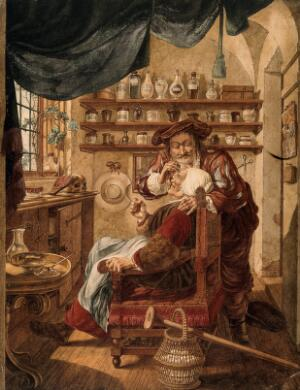 view A barber-surgeon extracting stones from a woman's head; symbolising the expulsion of 'folly' (insanity). Watercolour by J. Cats, 1787, after B. Maton.