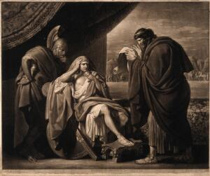 view Alexander the Great demonstrating his trust in his physician Philip of Acarnania by drinking a medicinal draught prepared by him despite allegations that it was a poison. Mezzotint by V. Green, 1772, after B. West, the elder.
