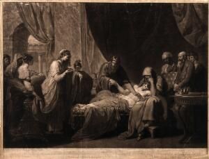 view Erasistratus, a physician, realising that Antiochus's (son of Seleucus I) illness is lovesickness for his stepmother Stratonice, by observing that Antiochus's pulse rose when ever he saw her. Mezzotint by V. Green, 1776, after B. West.