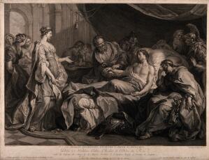 view Erasistratus, a physician, realising that Antiochus's (son of Seleucus I) illness is lovesickness for his stepmother Stratonice, by observing that Antiochus's pulse rose whenever he saw her. Line engraving by J.C. Levasseur, 1769, after H. Collin de Vermont, 1727.