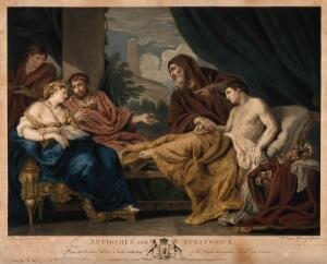 view Erasistratus, a physician, realising that the illness of Antiochus (son of Seleucus I) is lovesickness for his stepmother Stratonice, by observing that Antiochus's pulse rose when ever he saw her. Coloured engraving by W.W. Ryland, 1772, after Pietro da Cortona.