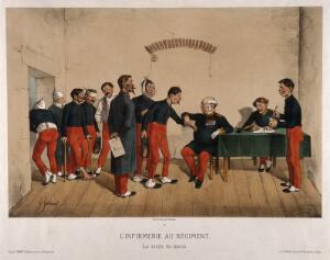 view Ailing soldiers queuing up to see the doctor in a military surgery. Coloured lithograph by G. Gostiaux after himself.