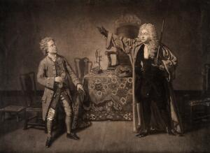 view Episode in Samuel Foote's play The devil upon two sticks: the cobbler Dr Last is examined for entry to the Royal College of Physicians by Dr Hellebore, the president of the college. Mezzotint by J. Finlayson after J. Zoffany, 1769.