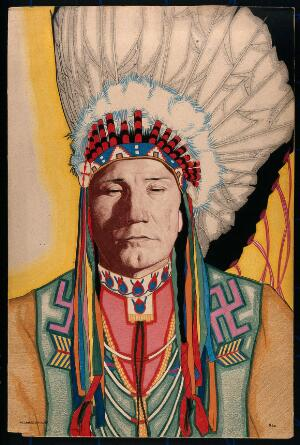view Yellowhead, a North American Indian man aged 40. Colour pastel drawing by W. Langdon Kihn, 1920.