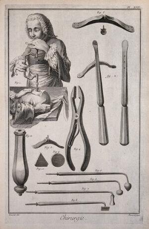 view Surgery: above, a skull being trepanned; below, various instruments used in trepanation. Engraving with etching by B.L. Prevost after Louis-Jacques Goussier.
