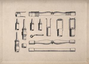 view Surgical instruments. Pen and ink drawing, 1850/1910?