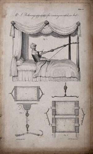 view A mechanism to enable invalids to lift themselves up into the sitting position in bed. Engraving by A.W. Warren, ca. 1820, after H.W. Reveley.