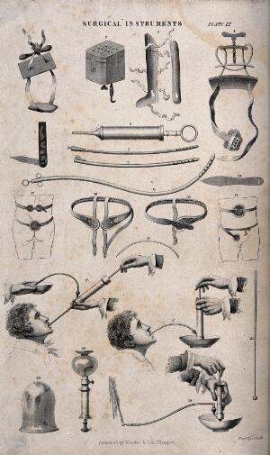 view Surgical instruments and applicances: 21 figures, including a demonstration of a combination stomach-pump/enema (?). Engraving with etching by J. Scott, 1850/1860?