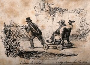 view An invalid being drawn through a garden in an early wheelchair, called the 'voiture de malade'. Lithograph, 1830/1860?