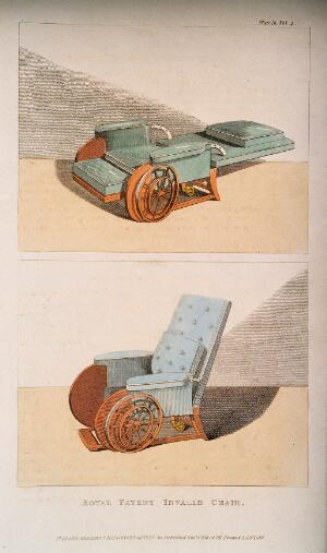 view Royal patent adjustable invalid chair, shown in horizontal and upright positions. Hand-coloured etching, 1810.