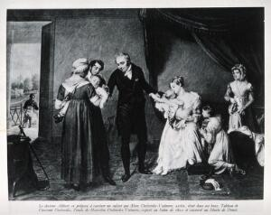 view Dr. J. Alibert taking serum from a servant's baby to vaccinate the child of Mme Desbordes-Valmore. Photograph, 1938, of a painting by C. Desbordes, 1822.