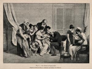 view A man vaccinating a child surrounded by its mother, family and other children waiting to be vaccinated. Process print after a lithograph (?) after a painting by L. Boilly, 1807.
