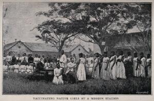 view A white doctor vaccinating African girls all wearing European clothes at a mission station. Process print by Meisenbach after a photograph.