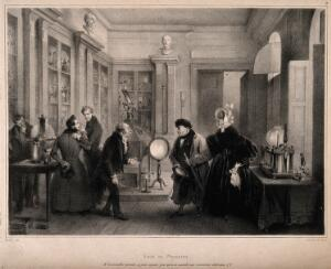 view An older man brings his young wife to a physician's house which is full of scientific and electrical equipment. Lithograph by C. Motte after J. Madou.