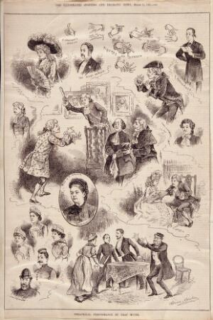 view Deaf and dumb people from the Hackney Mission to the Deaf and Dumb performing plays, sign language, and portraits of staff at the institution. Wood engraving by J. Swain, 1884, after H. Morehen.