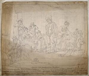 view Deaf and dumb people communicating through sign language. Pen and ink after S. della Gatta, 1828.