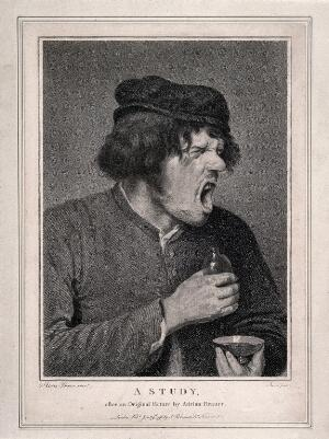 view A man grimacing grotesquely after taking some unpleasant tasting medicine. Stipple engraving by J. Facius, 1796, after A. Brouwer.