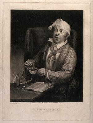 view A sick man mixing a dose of medicine for himself from a book. Mezzotint by H. Dawe, 1824, after M.W. Sharp.