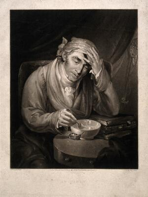 view A sick man holding his head, leaning on a pile of books and mixing a dose of medicine for himself. Mezzotint by A. Huffam, 1826, after M.W. Sharp.