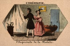 view A young doctor (homeopath?) visiting a patient and comforting his worried wife. Coloured photolithograph.