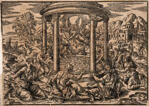 view Sick people gathered around the pool of Bethesda in Jerusalem as an angel stirs the waters. Woodcut, 15--.