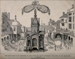 view The King's bath, a therapeutic steam bath with a gothic structure in the centre and surrounded by other buildings. Reproduction of a pen drawing after J. Fayram.