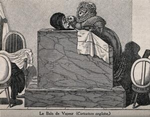 view An elaborately dressed woman pampers a man in a vapour-bath. Wood engraving after G. de Cari.