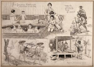 view Three scenes relating to hydrotherapy and one concerning the production of silk. Pen drawing by J. Gülick.