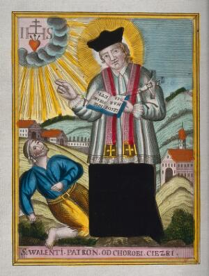 view Saint Valentine blessing an epileptic. Coloured etching.